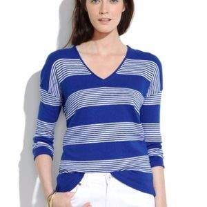Madewell blue and white striped vneck sweater